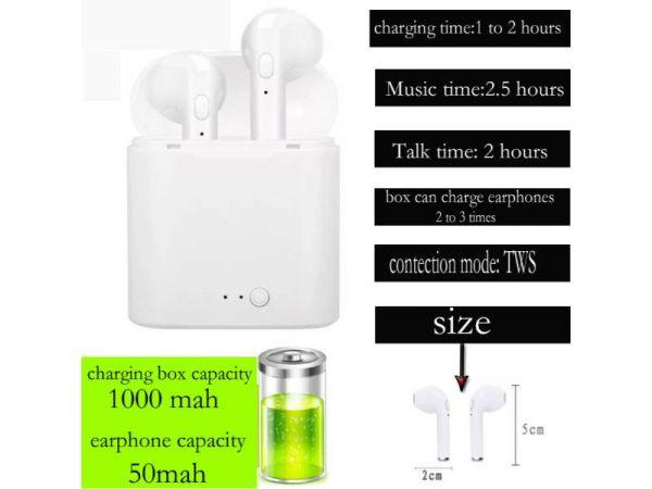 i7s bt earphone charging