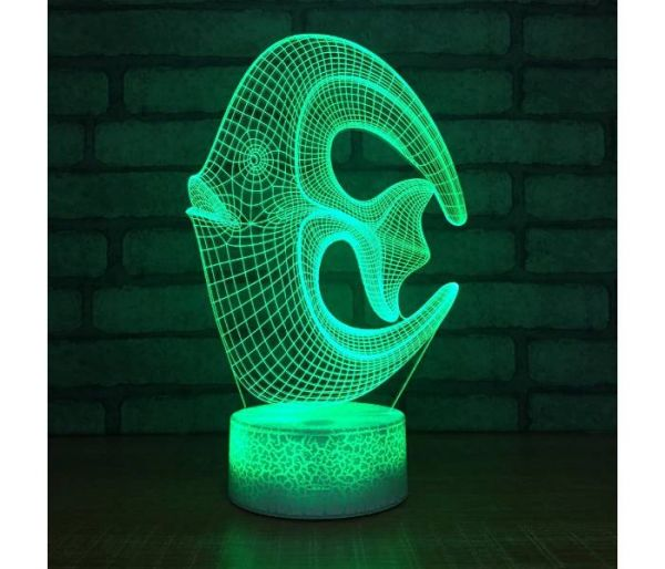 fish hologram lamp green