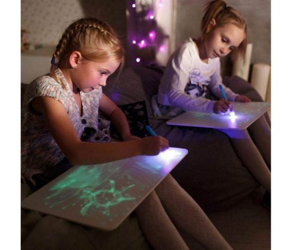 glow draw board with light