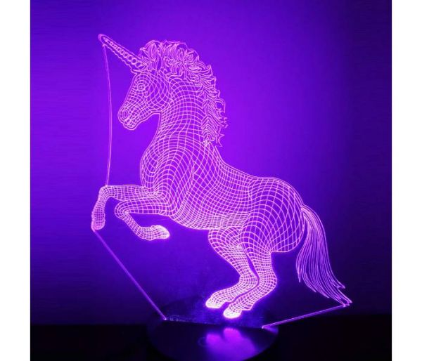 unicorn hologram lamp purple