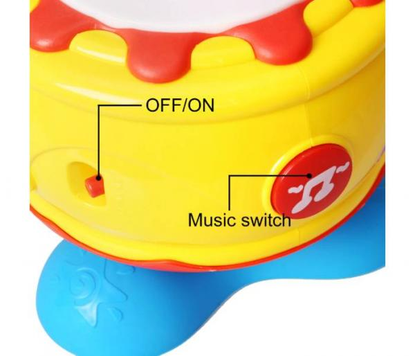 rotating musical drum with light music switch