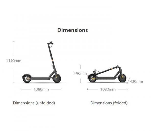 Xiaomi Mi 1S E-Scooter folded dimensions