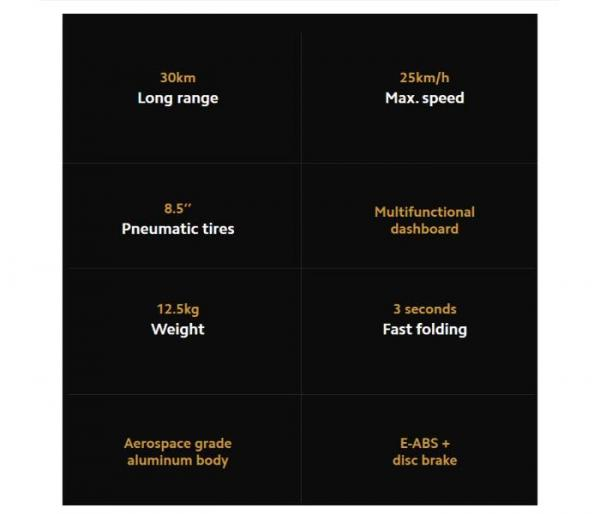 Xiaomi Mi 1S E-Scooter features
