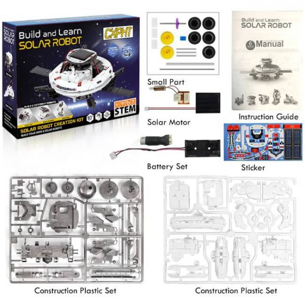 6 in 1 Educations Solar Robot Kit of STEM what package includes