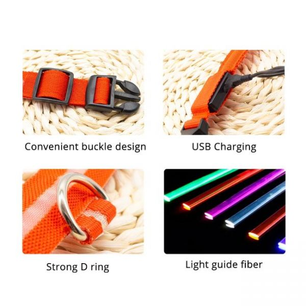 Led Dog Collar Anti-Lost Charged by USB with extra assets