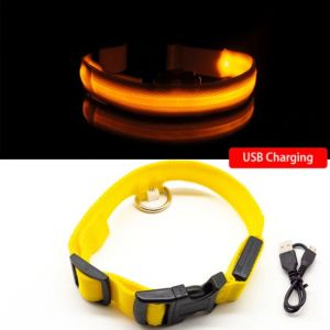 Led Dog Collar Anti-Lost Charged by USB yellow collar