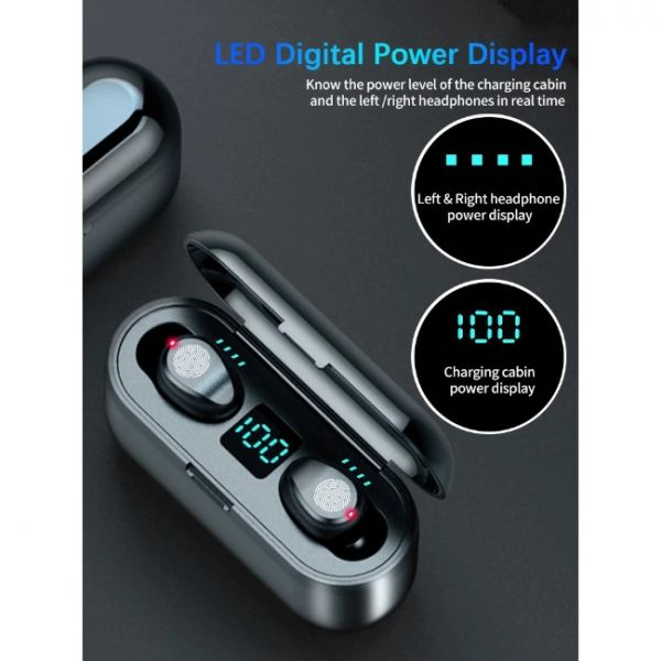 F9 wireless earphones with crystal sound and charging power display