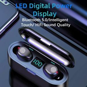 F9 wireless earphones with crystal sound and LED power display