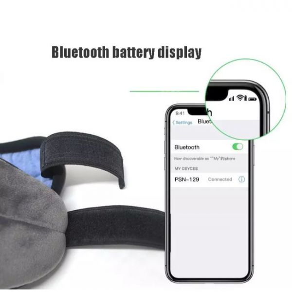 wireless sleeping eye mask with music and control of battery level