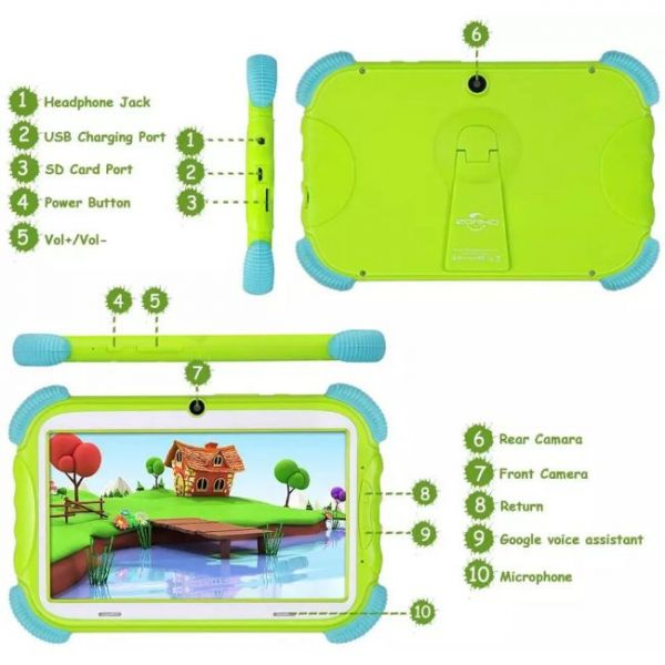 Kids tablet that parents can control with multiple buttons and ports