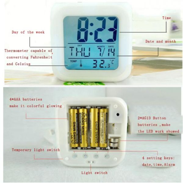 Battle Royale LED color changing digital clock - Batteries and features