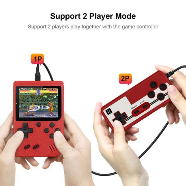 8 Bit retro handheld game console with 400 built-in games and 2 players mode