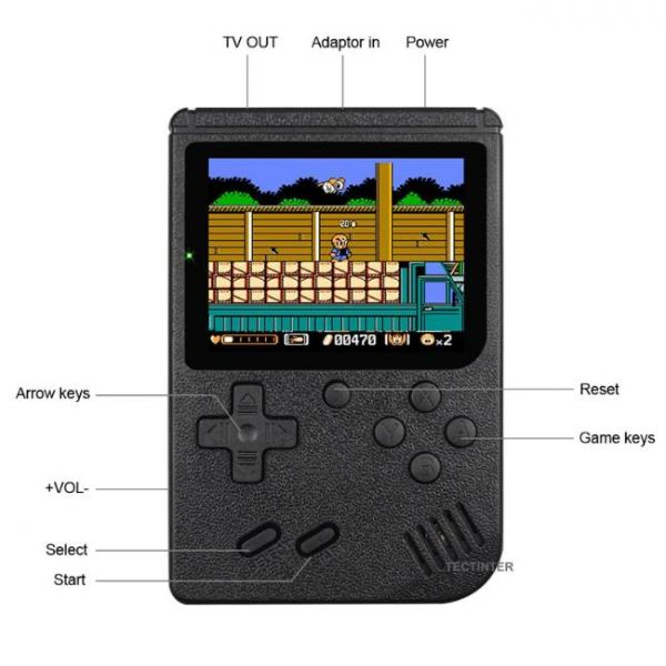 8 Bit retro handheld game console with 400 built-in games and multiple buttons