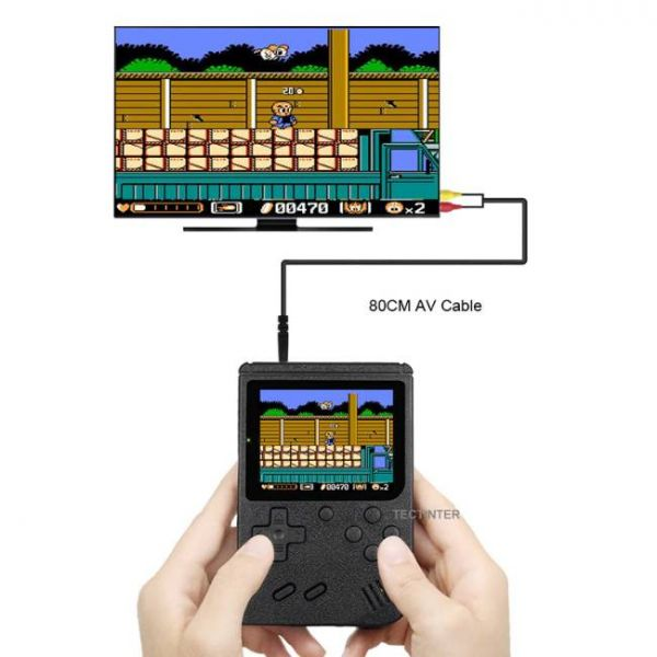 8 Bit retro handheld game console with 400 built-in games that can connect to TV