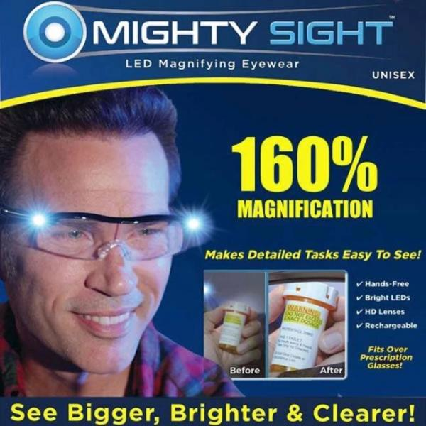 Mighty sight LED magnifying glasses for easy reading