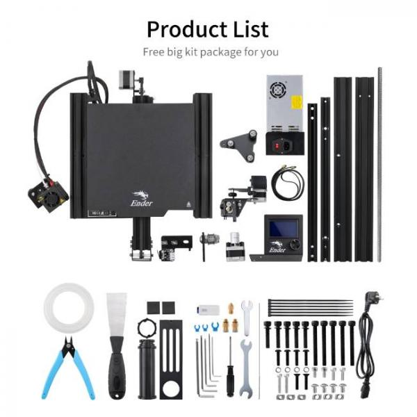 Creality fast and high precision 3d printer - List of parts in the package