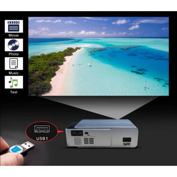 T6 LED projector with high brightness and easy function media player
