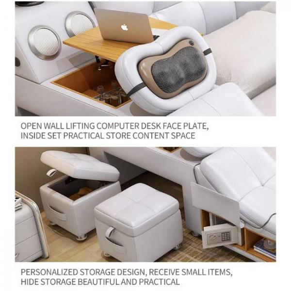 intelligent massage bed with multiple functions and liftable desk for laptop