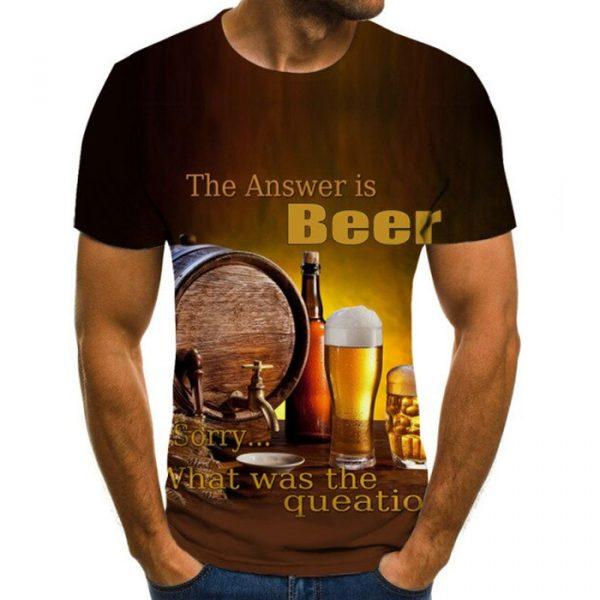 Summer Beer 3D Print Men T-Shirt Casual Streetwear 2021