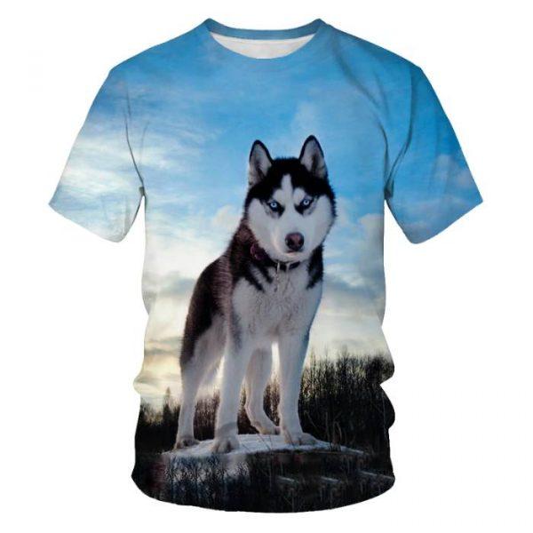 Dog 3D Print Men T-Shirt Casual Streetwear 2021