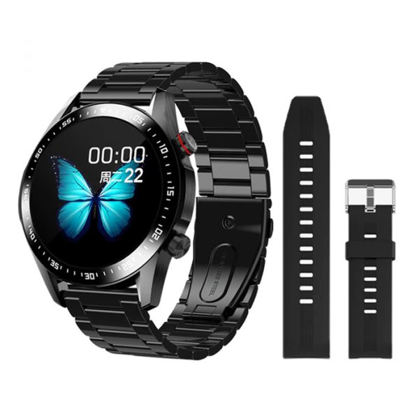 black smooth silicone full waterproof sport smart watch