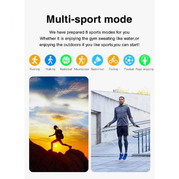 full waterproof sport smart watch with multiple exercises