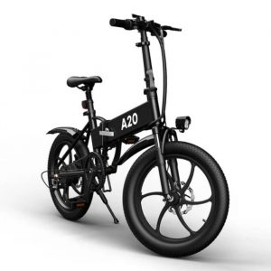 black electric bike with a lot of features