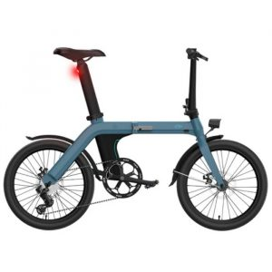 light blue electric bike with a lot of features